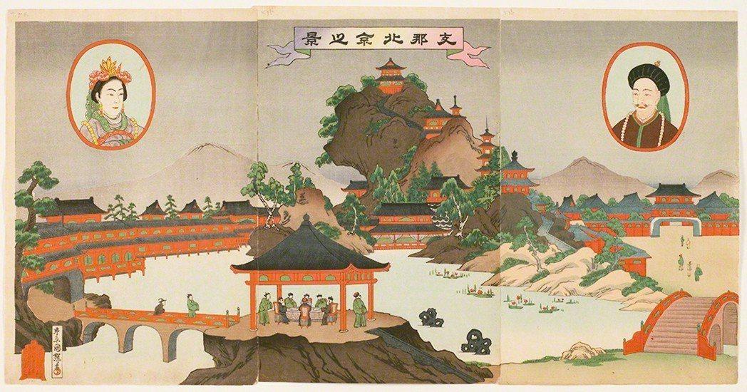 圖5:光緒皇帝和皇后浮現在〈支那北京之景〉,三代目歌川國輝畫,1894年。