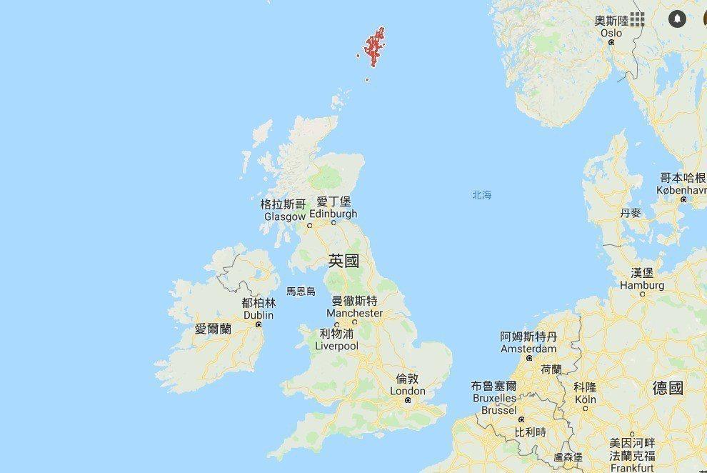 圖中紅色部分即位於英國大陸北方約160公里的昔德蘭群島。擷自google地圖