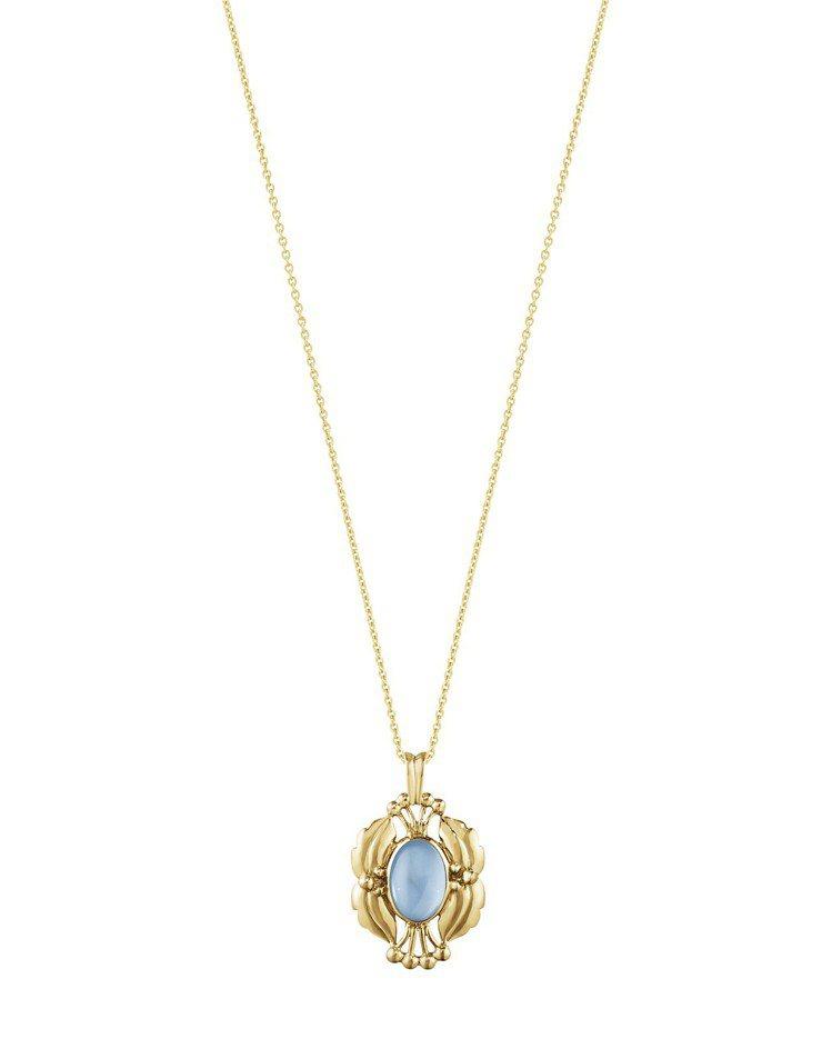 喬治傑生 2000年度復刻紀念18K黃金藍拓帕石項鍊,66,000元。圖/喬治傑...