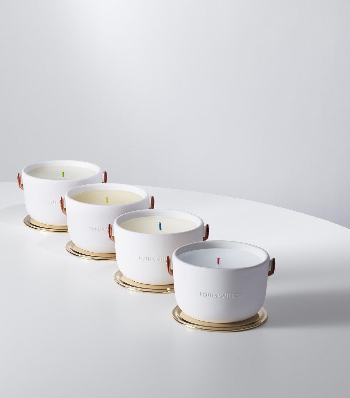 路易威登首度推出4款香氛蠟燭,選色活潑的燭芯在格拉斯經過手工上色處理。圖/路易威...