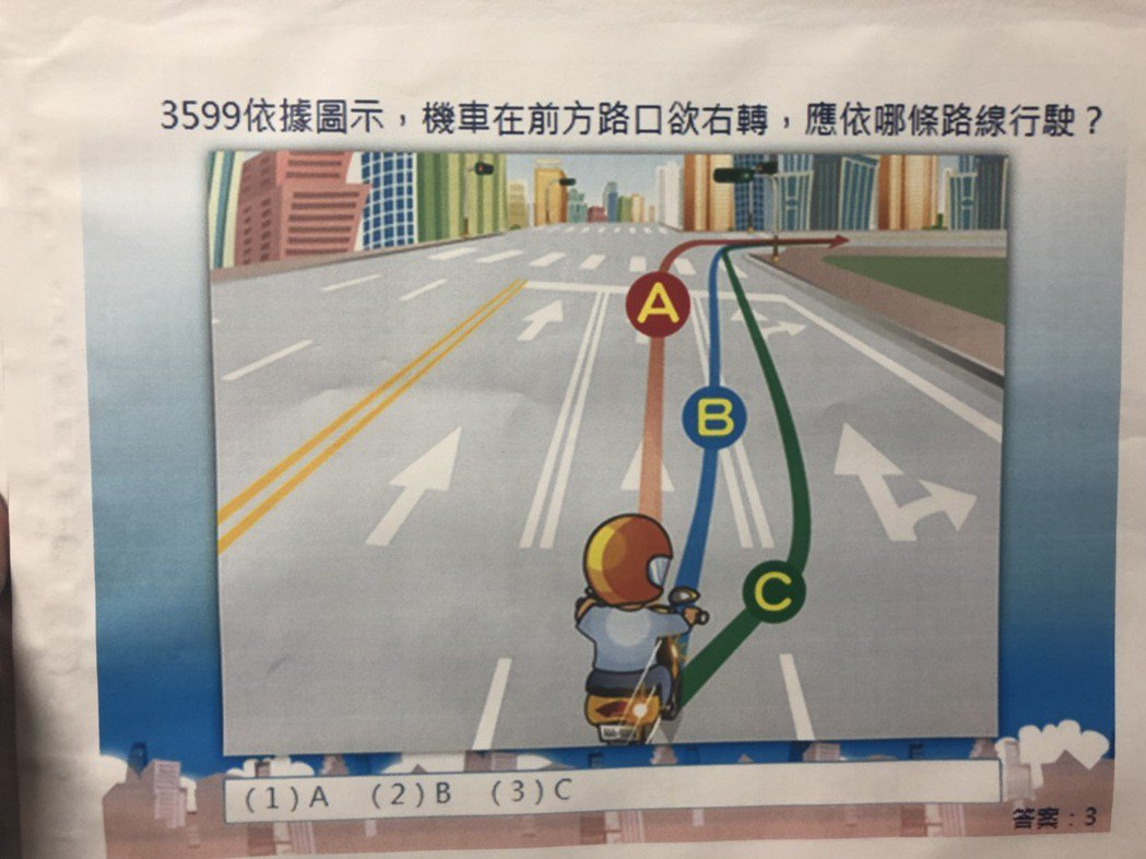 依據圖示,機車在前方路口欲右轉,應依哪條路線行駛?答案:3。