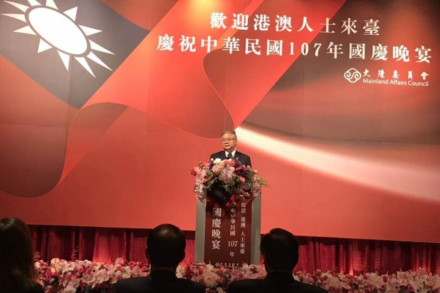 澳門台商協會會長簡廷在昨晚在陸委會的中華民國國慶晚宴中致詞。簡廷在╱提供