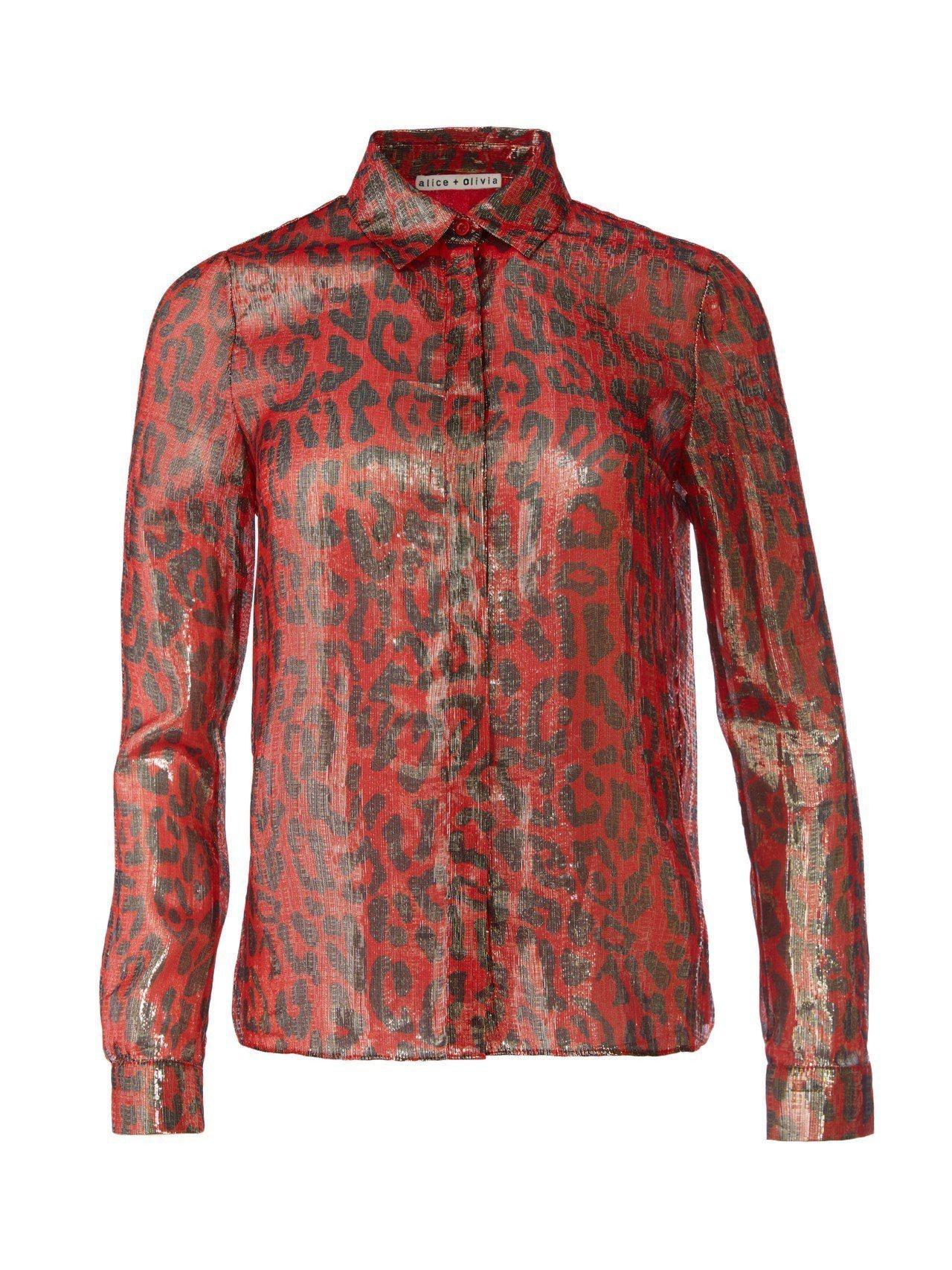 豹紋印花襯衫,12,500元。圖/Alice + Olivia提供