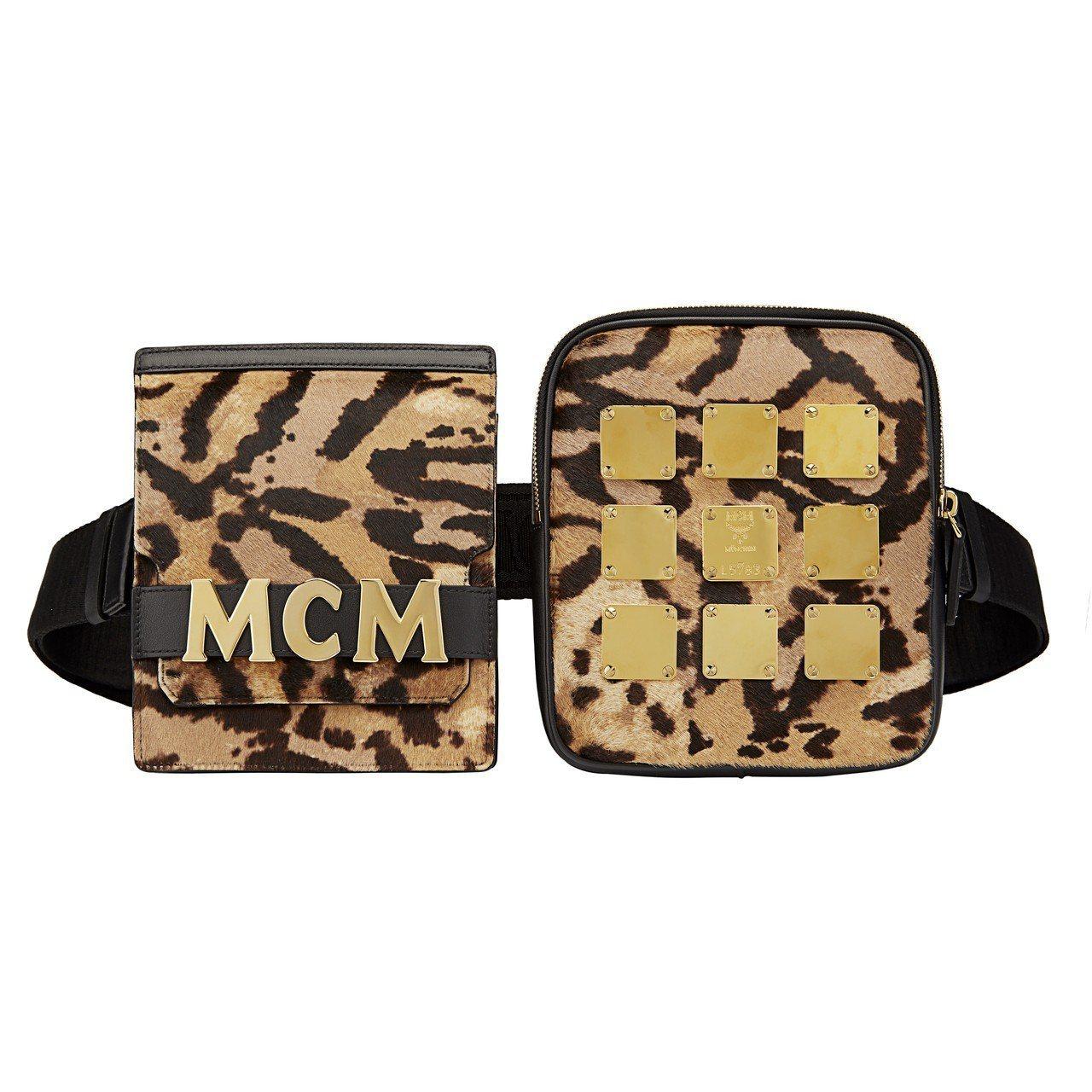 Stark Brass Plate豹紋腰包,31,500元。圖/MCM提供