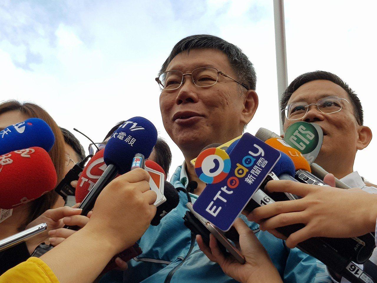 台北市長柯文哲今早出席北市府升旗典禮受訪。記者翁浩然/攝影