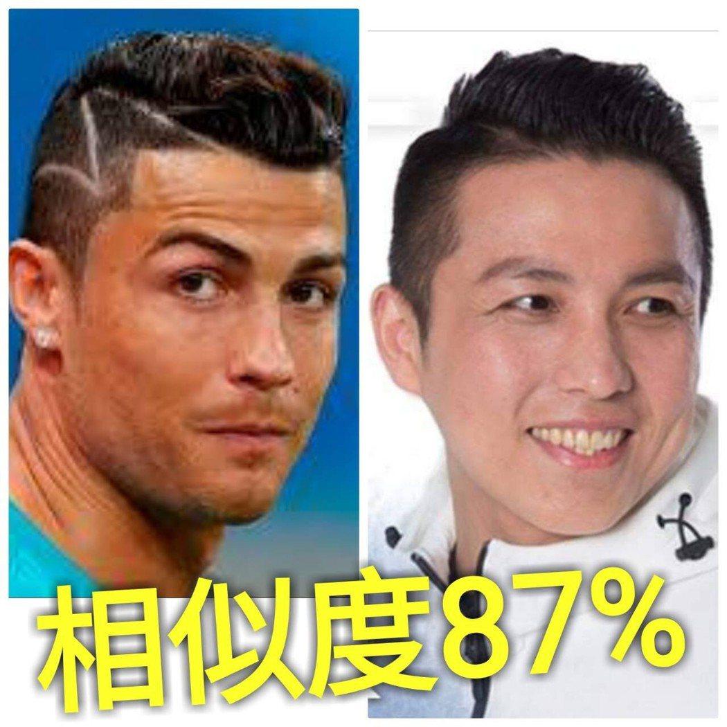 國民黨新北市議員參選人陳偉杰(右圖)的學生把他的照片和足球明星C羅合成,標註「相...