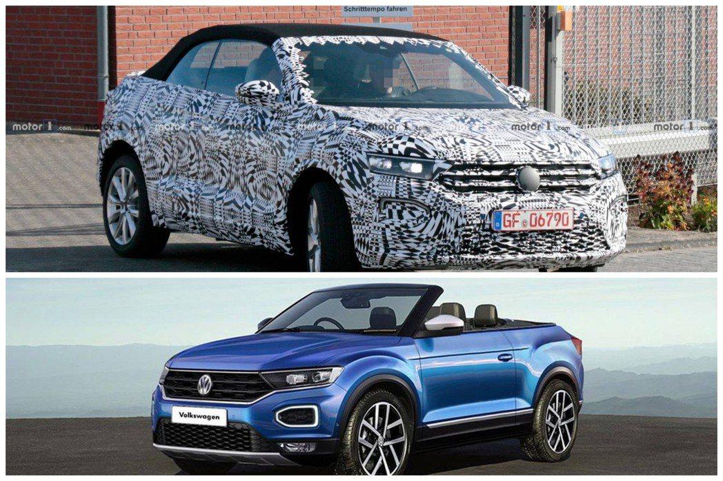 全新Volkswagen T-Roc Convertible與量產版假想圖。 摘...