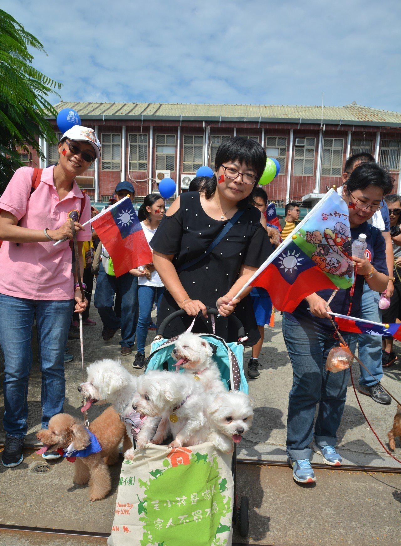 愛護動物團體的狗狗隊也參加新竹市議會舉辦的國慶遊行。記者郭宣彣/攝影