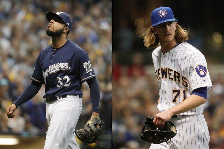 釀酒人後援投手海德(右)和傑佛瑞斯(左)在場上都是殺氣騰騰,可怕的三振威力讓對手...