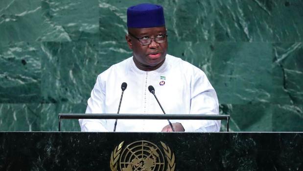 塞拉利昂現任總統Julius Maada Bio今年9月在聯大演講。(法廣資料照...