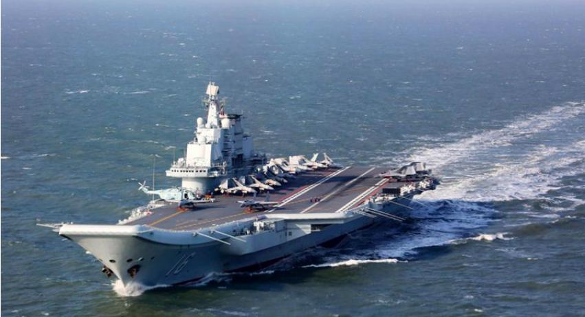 中共突然取消參加南韓的國際觀艦式,圖為中共航母遼寧號。(中共國防部網頁照片)