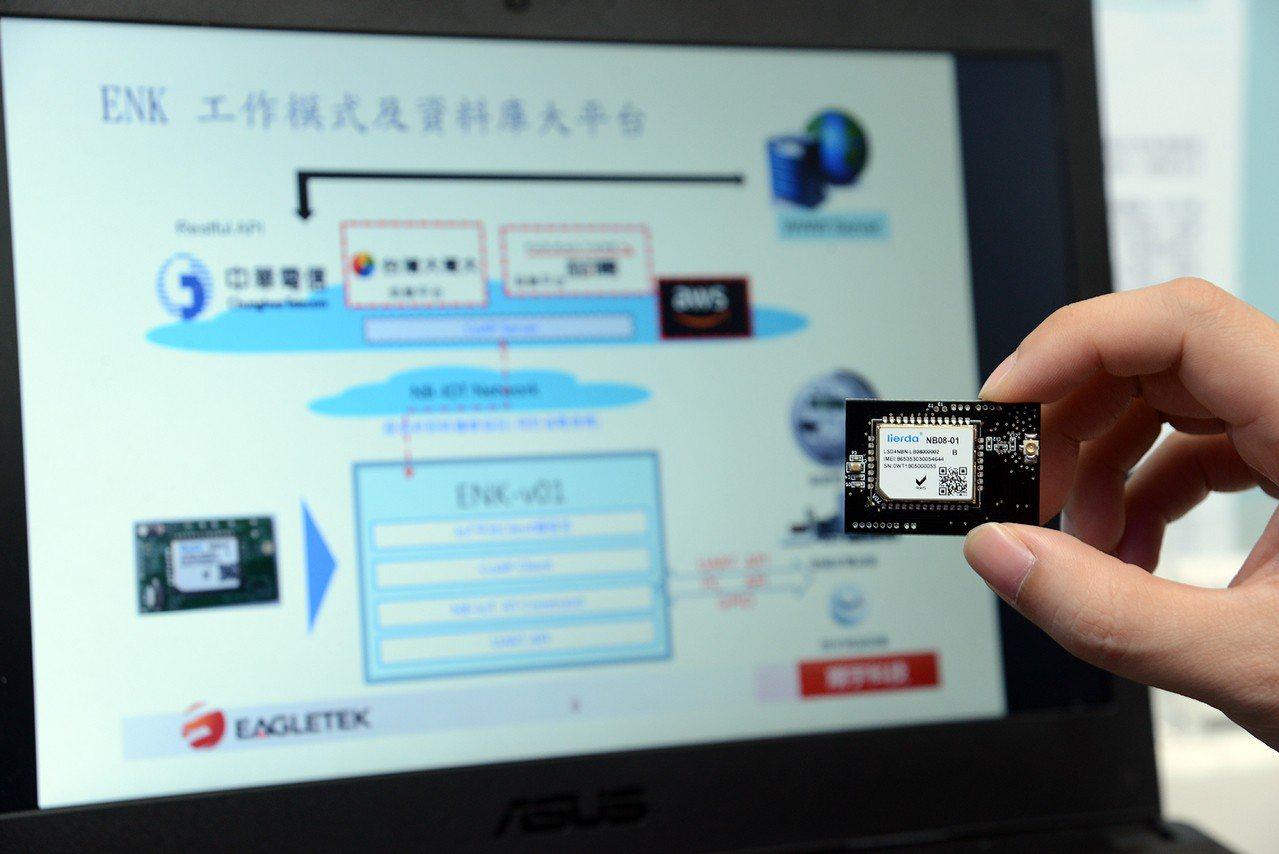 翔宇科技展出的「簡易NB-IOT連網板」可直接部署於LTE網路,具備遠距離且低功...