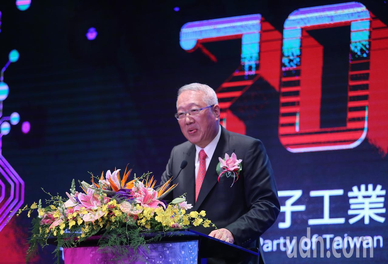 電電公會舉辦70週年慶祝大會,理事長郭台強(圖)出席致詞。記者許正宏/攝影