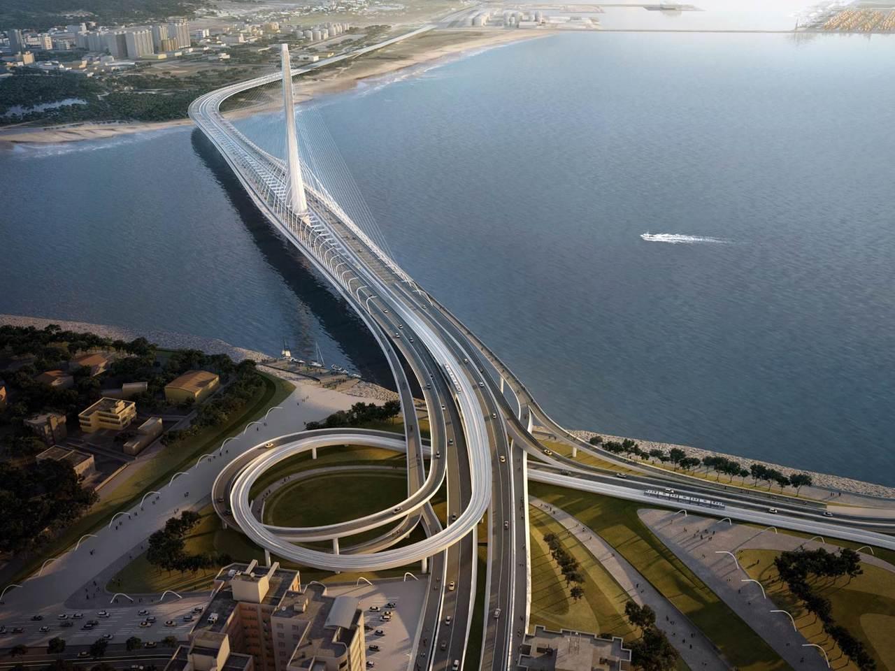 淡江大橋完工模擬圖,完工後預計會改善當地交通壅塞情況。圖/新北市交通局提供