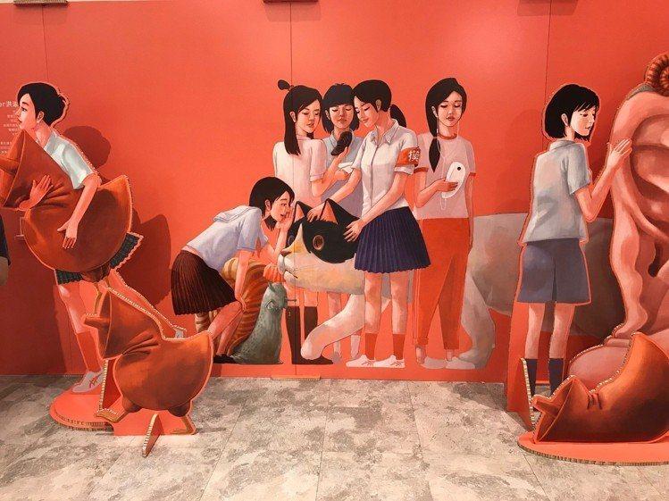 插畫設計師Croter洪添賢以充滿青春感的高中女生為主題。記者江佩君/攝影