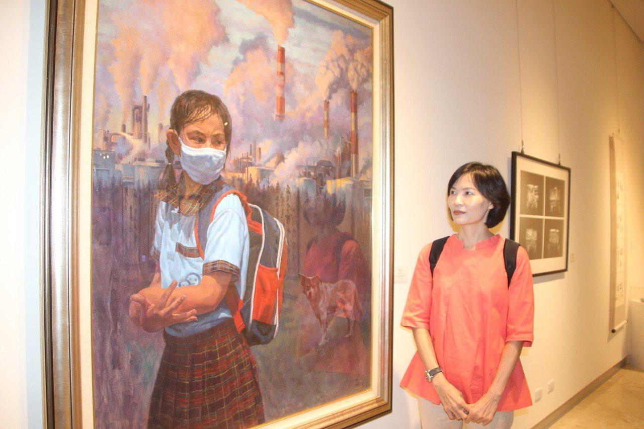 今年空汙環保議題也成為創作者的主題,油畫水彩類首獎劉侑誼的作品中一整排的煙囪讓人...
