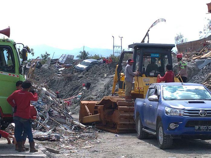 印尼日前遭7.5強震、海嘯襲擊,重災區貝托波面目全非。 (中央社)