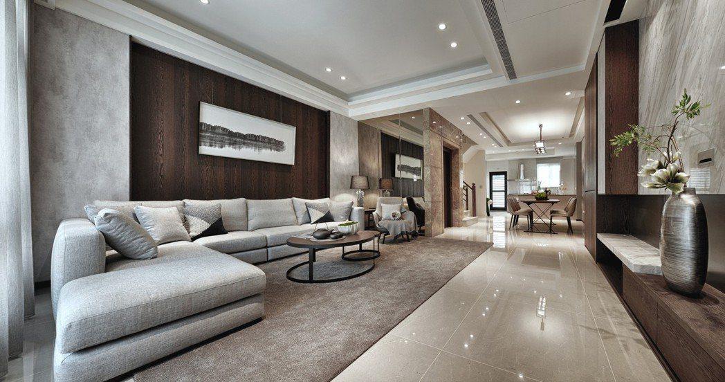 客廳~戶戶有電梯且客廳、餐廳、廚房空間完整寬敞,功能齊全。 圖片提供/誠佑實業
