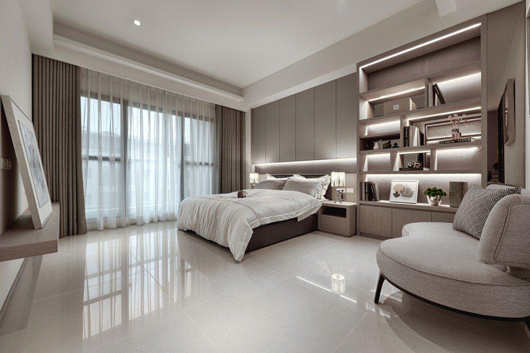 次臥~全家人都住套房,非主臥擁有的空間舒適度也令人稱羡。 圖片提供/誠佑實業