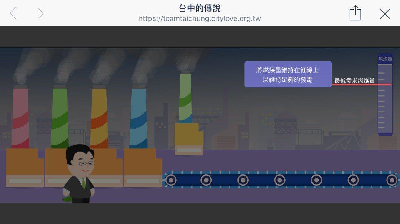 台中市長林佳龍競選總部今推出網路遊戲,置入林佳龍的政績。記者洪敬浤/翻攝