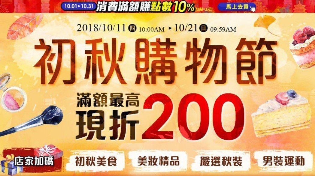 樂天推出初秋購物節,滿額最高現折200元。圖/樂天提供