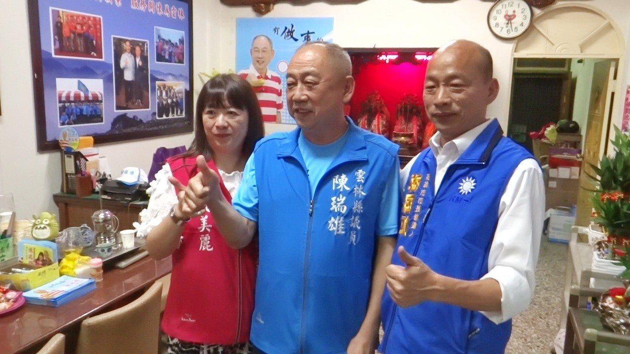 韓國瑜晚間回到雲林,第一站就到縣議員參選人陳瑞雄總部打氣。記者蔡維斌/攝影
