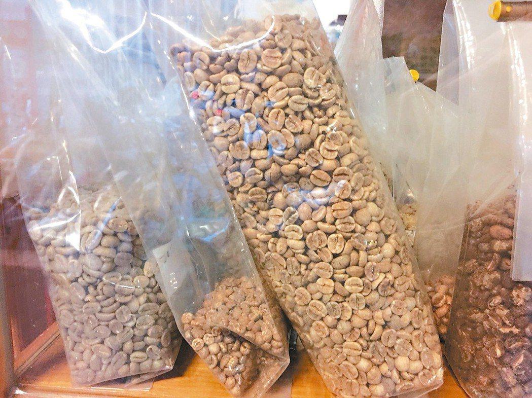 未烘焙過的咖啡原豆,呈現墨綠色,被稱為綠咖啡。圖中咖啡豆為咖啡生豆。 記者陳雨鑫...