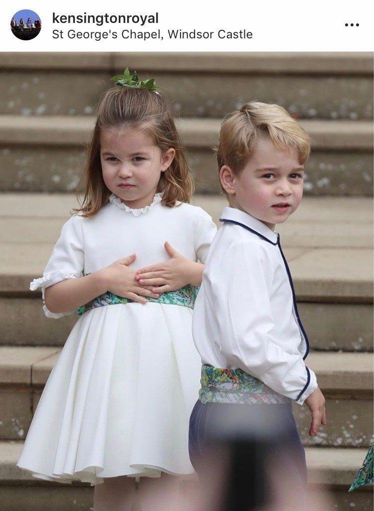 想王子小公主擔任尤金妮公主婚禮的花童,萌樣深受歡迎。圖/取自IG @kensin...