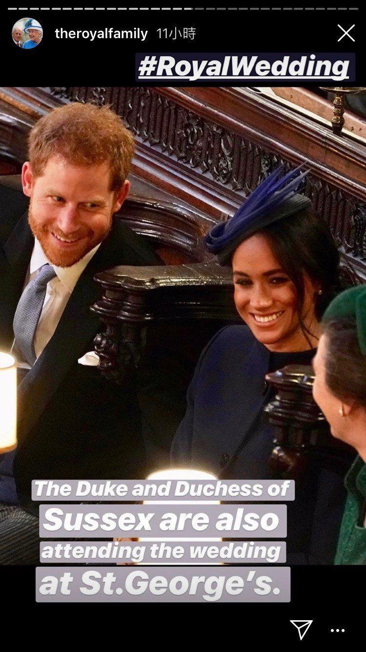 梅根穿紀梵希套裝、配戴Noel Steward帽飾出席尤金妮公主婚禮。圖/取自I...
