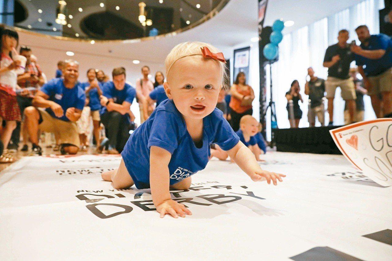 圖為一年一度的「寶寶爬行大賽」。圖/路透