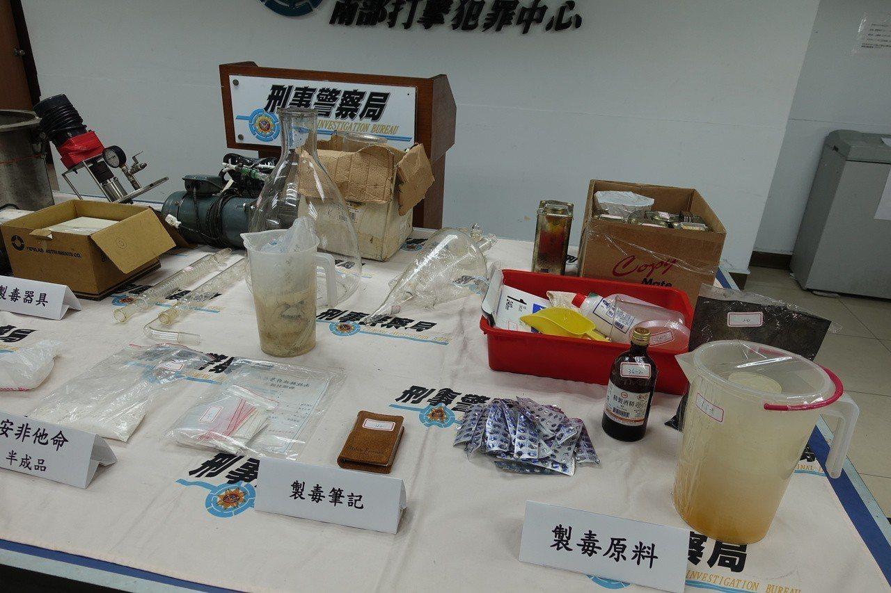 刑事局南打在南投縣破獲製造安非他命毒品工廠。記者劉星君/攝影