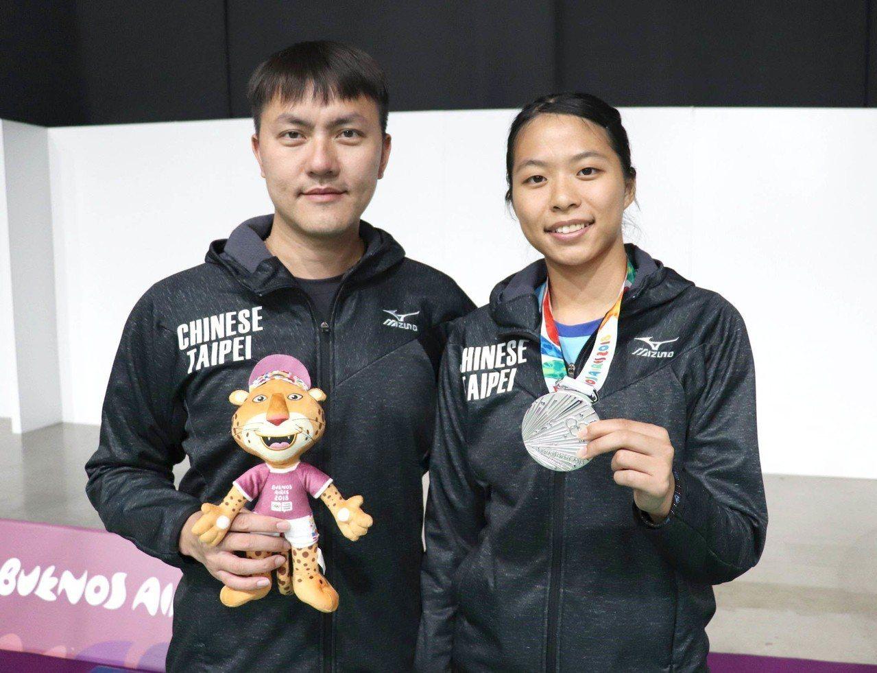 中租羽球隊黃映瑄(右)與教練楊鈞翔(左)合影。圖/中租提供