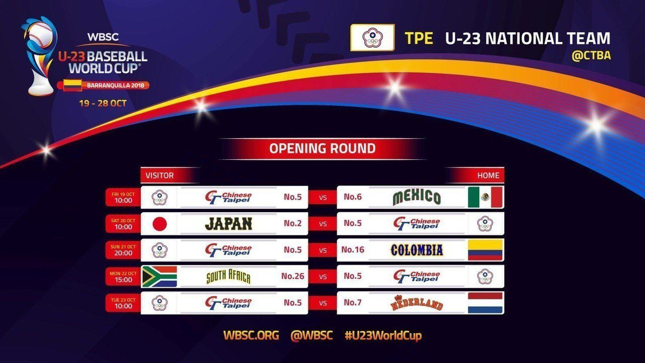 U23世界盃中華隊賽程。圖/取自WBSC官網