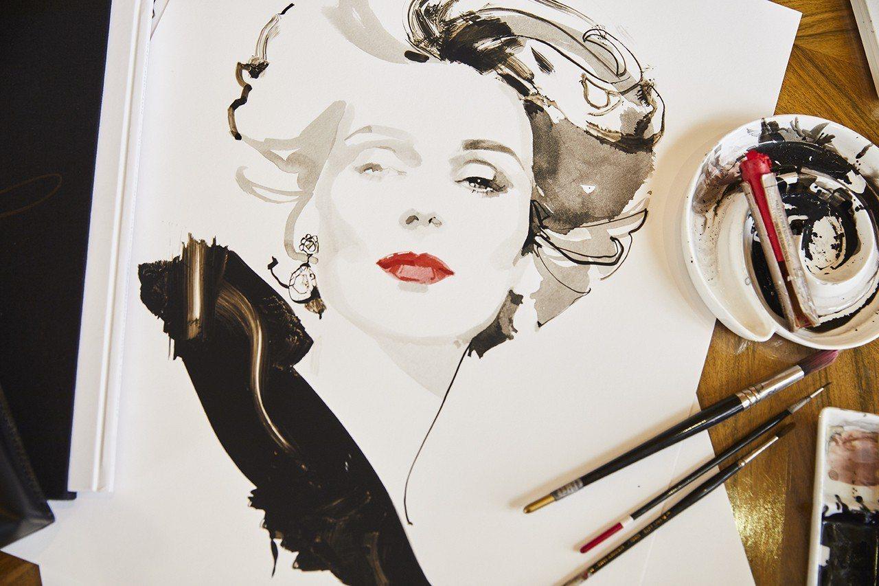 時尚藝術家David Downton形塑的精緻優雅的Brooke。圖/MICHA...