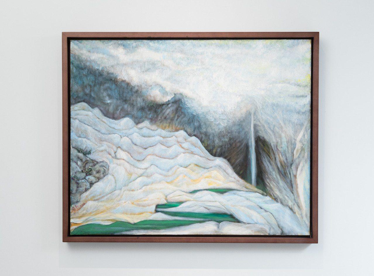 蔣勳展出多年來的油畫、水墨、書法等作品。。記者陳立凱/攝影