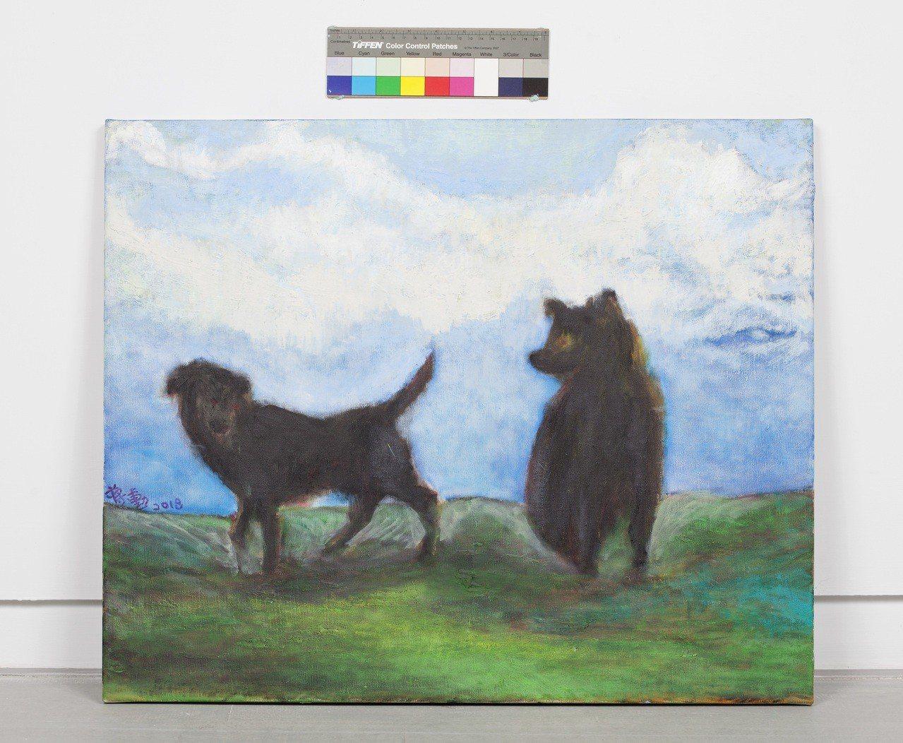 蔣勳以他少有的動物畫「流浪狗」來紀念與「小黑」的緣分。圖/谷公館提供