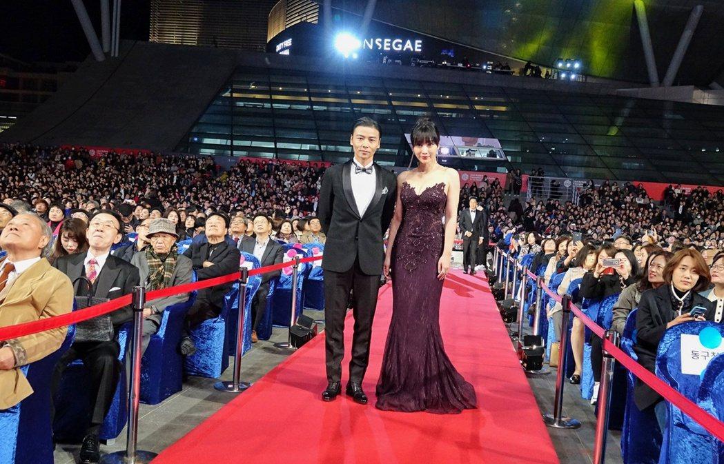 張晉與柳岩盛裝出席「葉問外傳:張天志」釜山影展首映活動。圖/華映提供