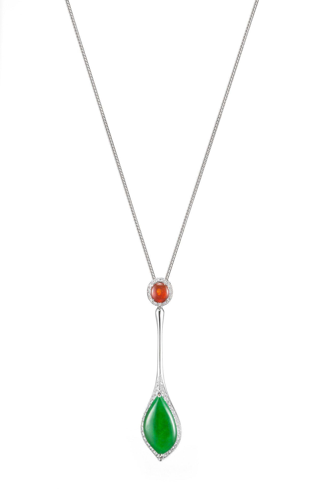 Brave系列不規則造型翡翠與蛋面紅翡鑲鑽墜飾(不含項鍊),56萬8,000元。...