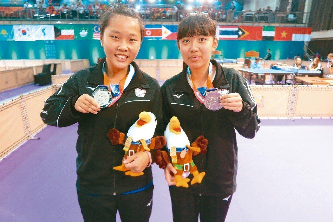 林姿妤(右)與田曉雯在亞帕運奪銀。 記者毛琬婷/攝影