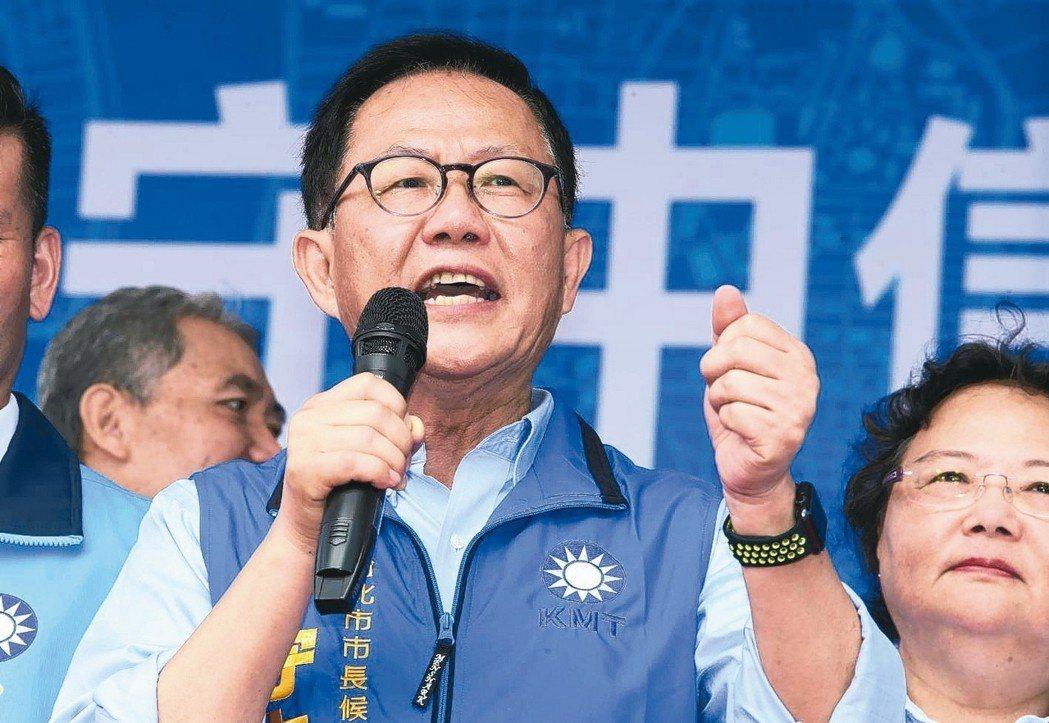 國民黨台北市長參選人丁守中信義後援會上午成立,丁守中表示會跟市議員參選人勤走基層...