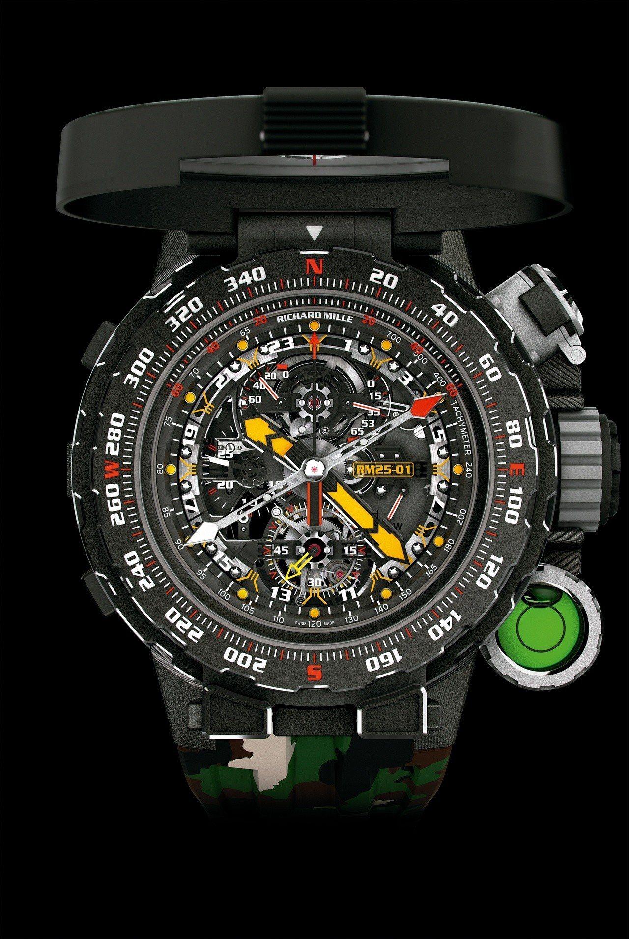 有的多功能指示的表盤的RM 25-01冒險家史特龍陀飛輪計時碼表,其指針設計靈感...