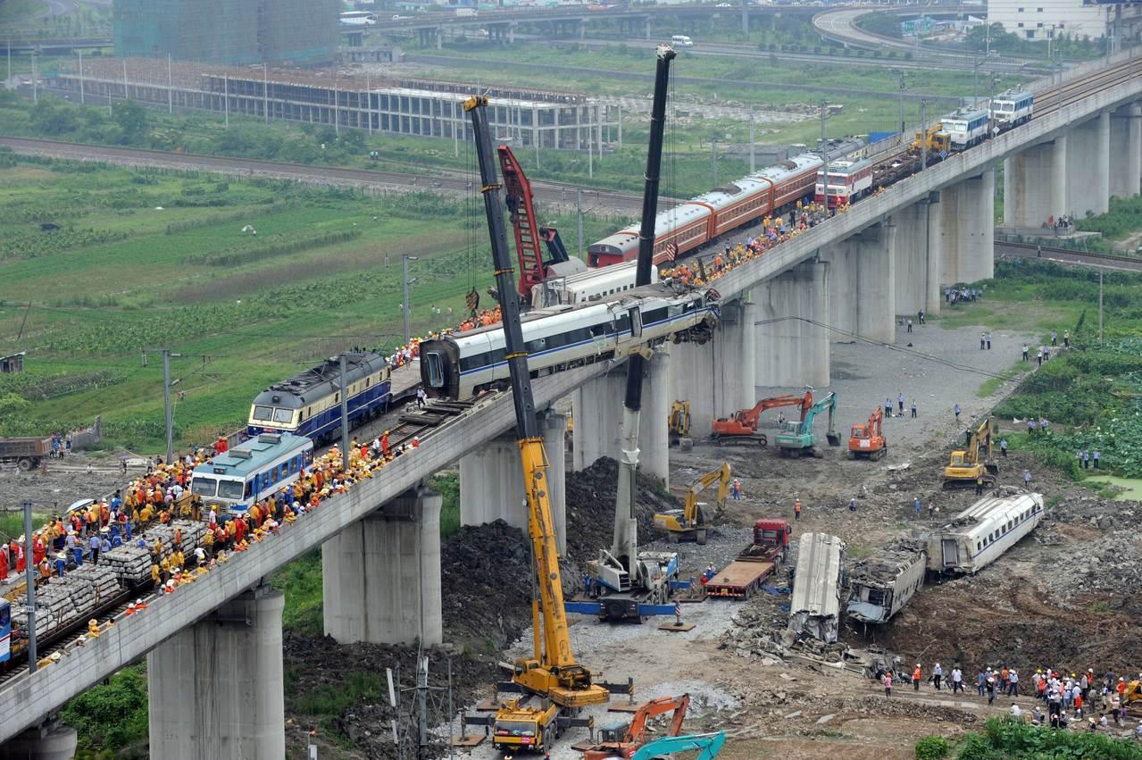 中國2011年在浙江溫州發生高鐵追撞事故,震驚社會。法新社