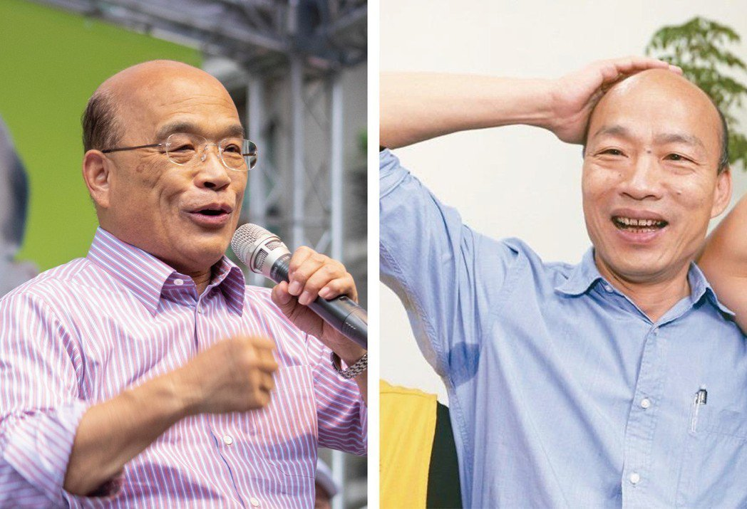 韓國瑜(右圖)認為蘇貞昌(左圖)剪髮洗頭速度應該比他還快,因為自認毛髮比蘇貞昌還...