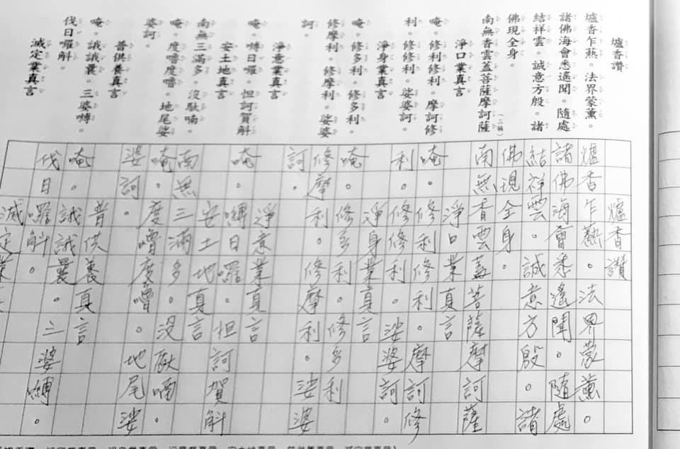 江俊翰曝每日早課為抄寫經文。圖/擷自臉書