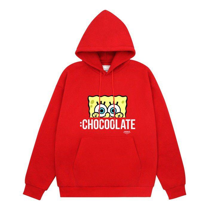:Chocoolate與海綿寶寶合作系列連帽上衣,2,459元。圖/I.T.提供