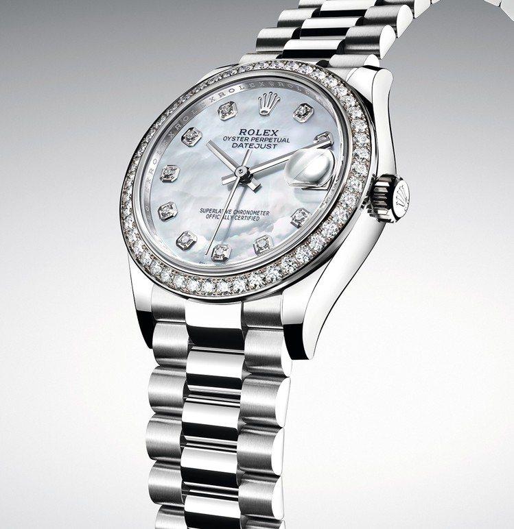 勞力士新款Datejust 31 18ct白色黃金款搭配白色珍珠母錶面及鑲嵌46...