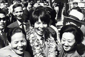 1968年墨西哥奧運凱旋歸國選手紀政。 圖/聯合報系資料照