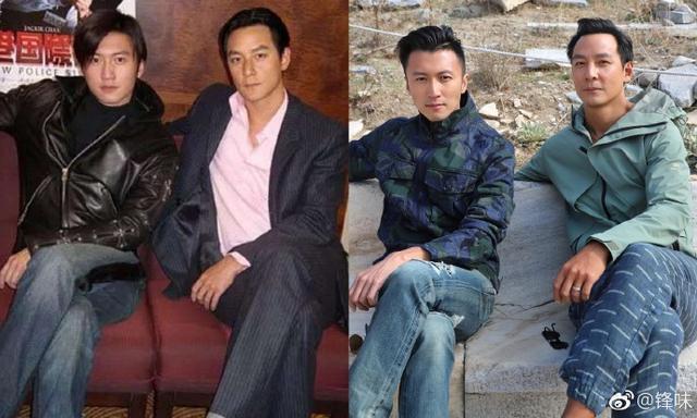 謝霆鋒擺上與吳彥祖的多年比對合照。圖/摘自微博