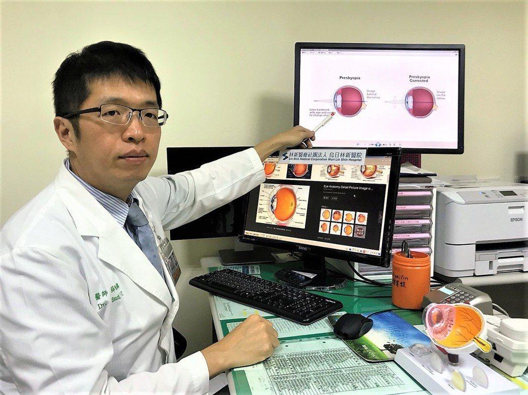 台中市烏日林新醫院眼科主任薛維禎指出,老花眼並非中老年人的專利,如果40歲以前的...