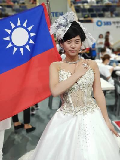 明新科大化妝品學程赴韓參加IBEAC美容大賽,其中學生阮怡蒨,贏得「新娘化妝整體...